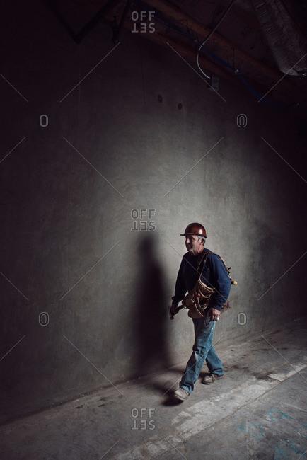 Construction worker walking