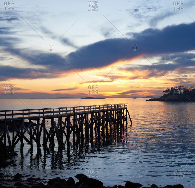 Dock at sunset in Magnolia, Massachusetts