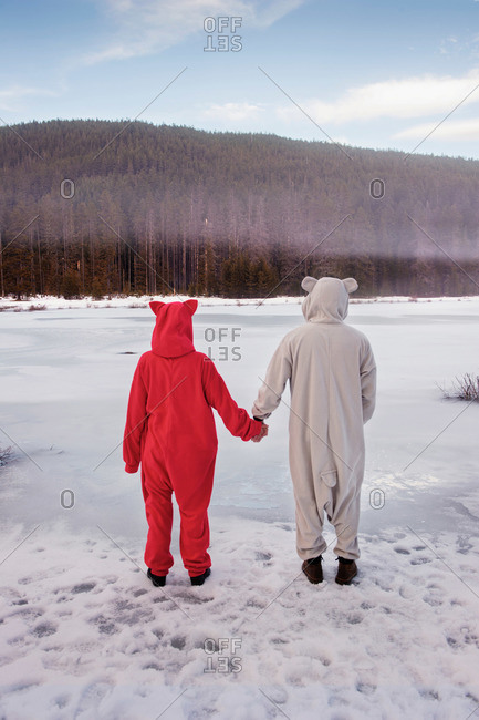 Couple dressed in animal costumes at Frog Lake, Oregon