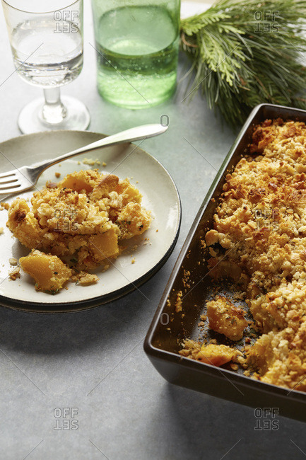Savory casserole with crumble topping