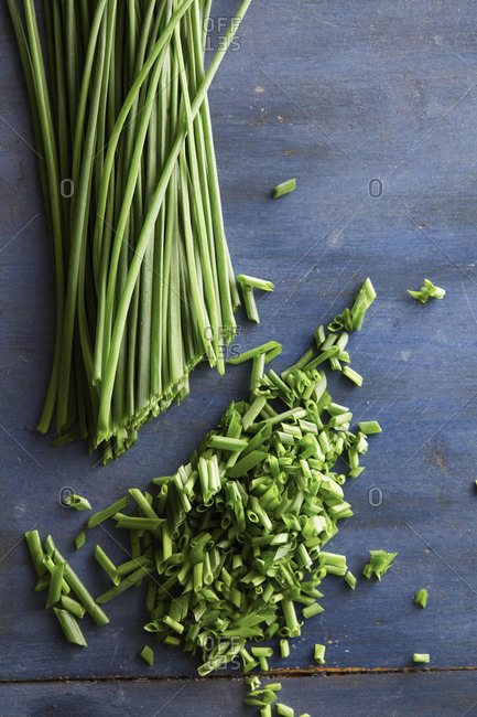 Stalks of chives chopped
