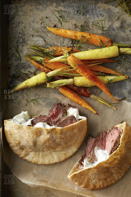 Steak pita with roasted carrots and dill