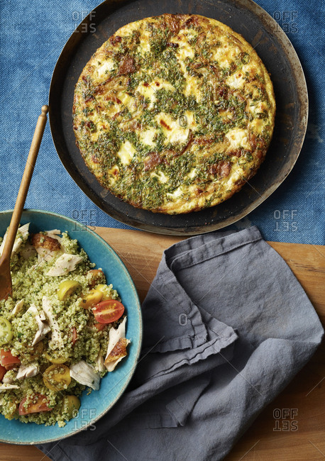 Quiche and basil tabbouleh with chickpea and tomato