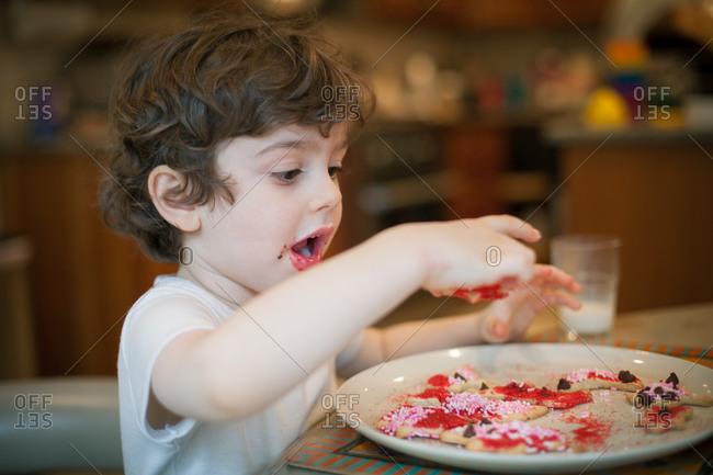 Young boy eating Christmas cookies