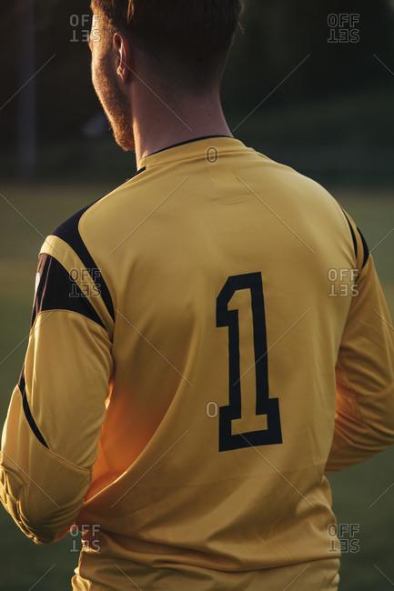 Rear view of sportsman standing on soccer field