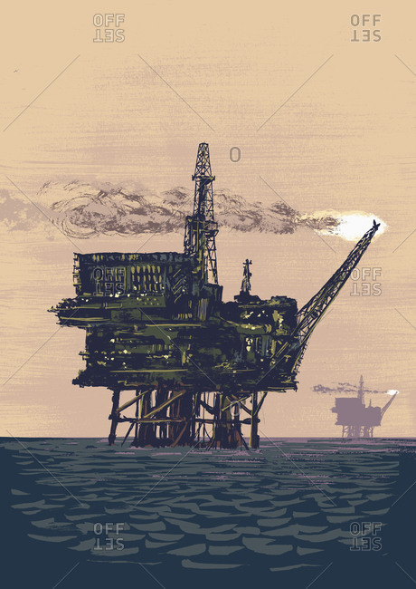 Oil rig drilling in middle of ocean