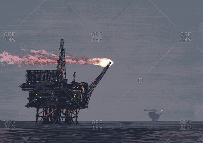 Oil rig drilling in ocean