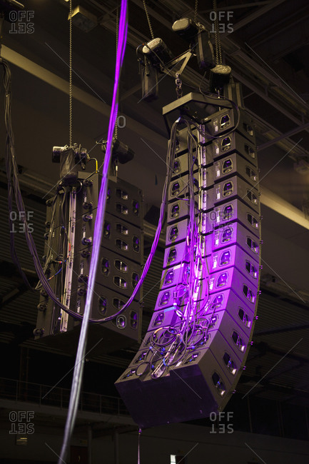Low angle view of speaker system at concert