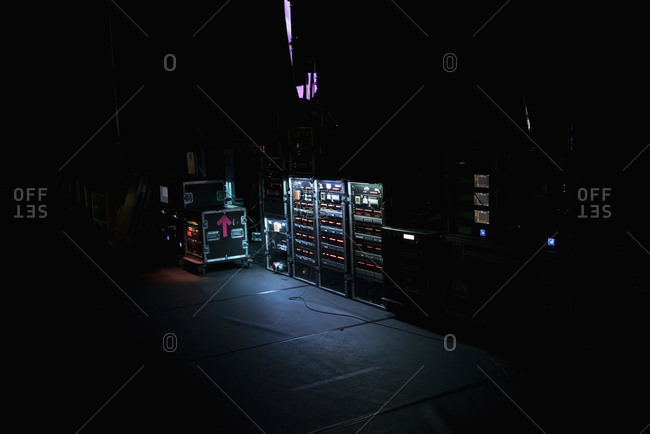 Illuminated amplifiers on stage