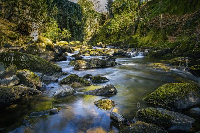 River flowing through mossy rocks