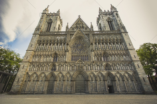 Low angle view of cathedral against sky, Trondheim, Norway