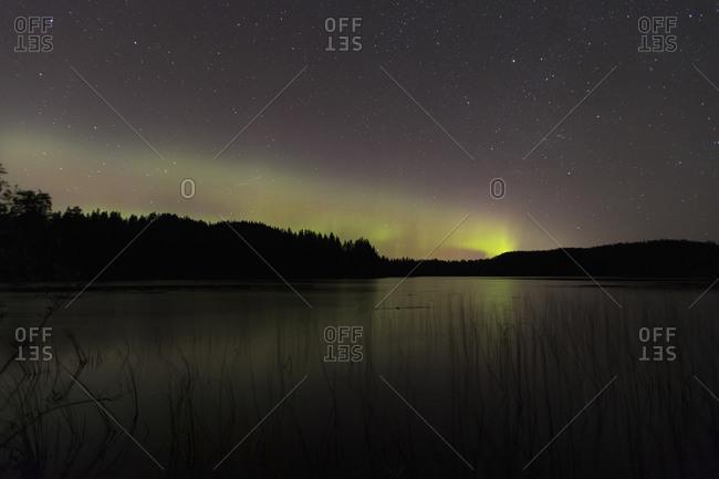 Idyllic view of aurora borealis at lake during night