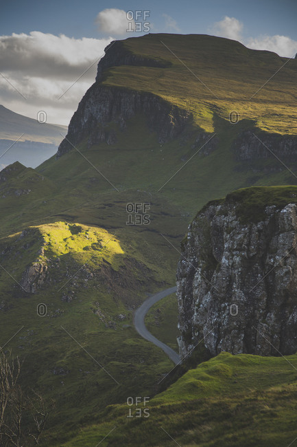 Low angle view of green mountains against sky, Isle Of Skye, Scotland