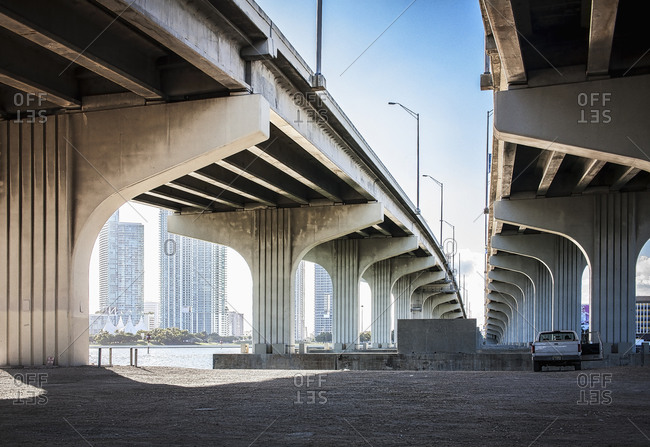 Underneath view of highway bridges, Florida