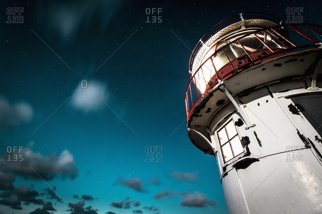 Low angle view of lighthouse against sky, Amrum