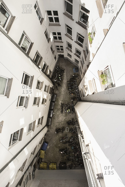 High angle view of vehicles parked amidst residential buildings, Berlin