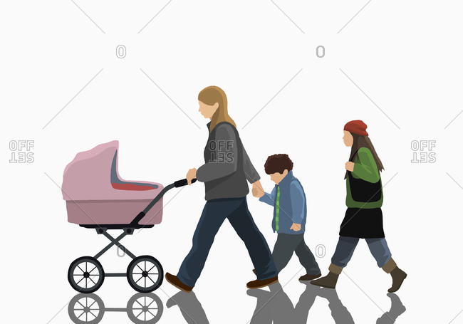 Woman with two children and stroller walking on white background