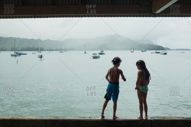 Kids standing on wall overlooking sea