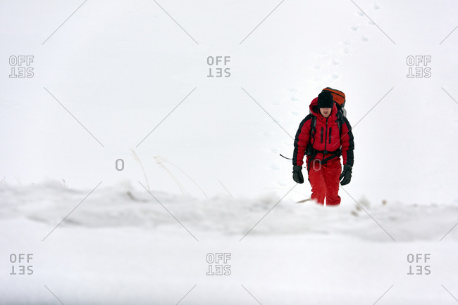 Man hiking in Icelandic snow