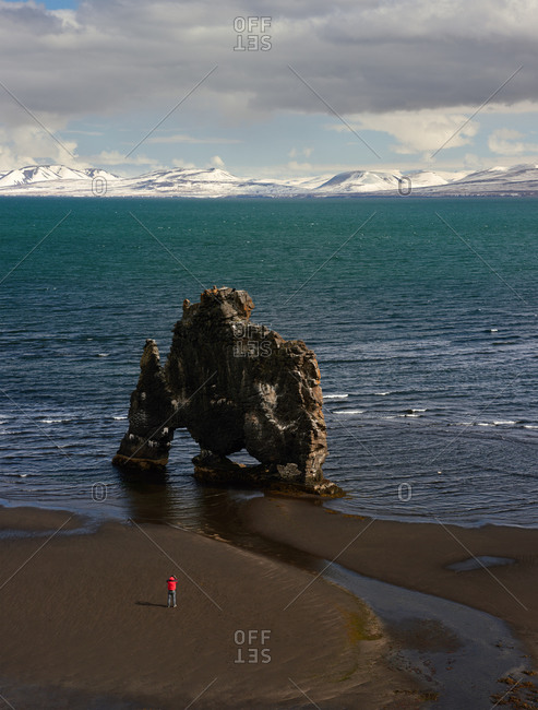 Person by formation off Icelandic coast
