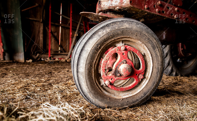The tire of a farm machine