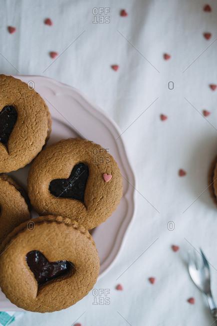 Valentine cookies with jam