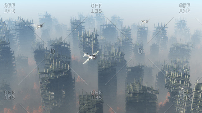 Airplanes flying over misty war zone with demolished buildings