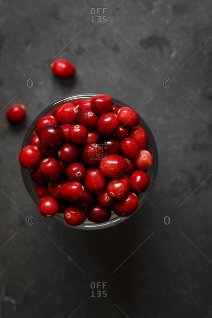 Bowl filled with cranberries