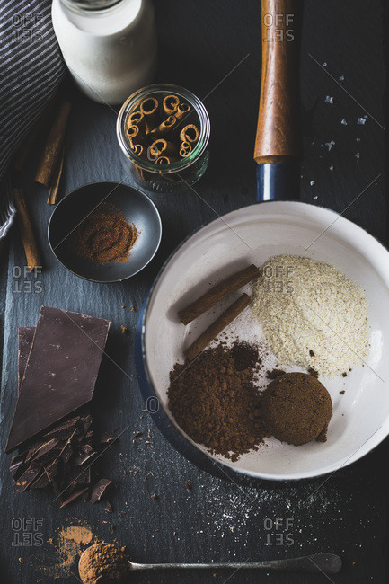 Ingredients for dairy-free version of champurrado in a saucepan