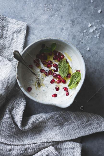 Spiced garlic yogurt dip with mint