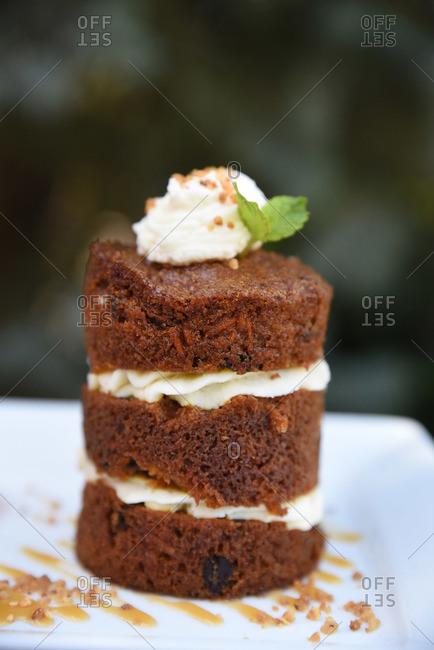 Mini stacked pumpkin gingerbread cake
