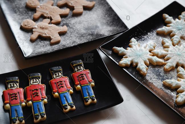 Nutcracker, snowflake and gingerbread men sugar cookies