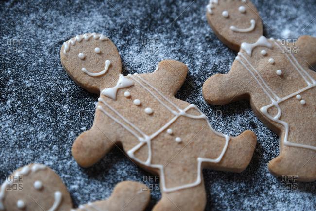 Close up of gingerbread men sugar cookies