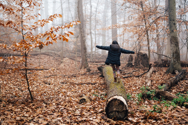 Girl walking on log in misty woods