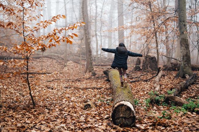 Girl walking on log in misty woods