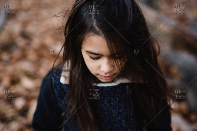 High angle portrait of girl in woods