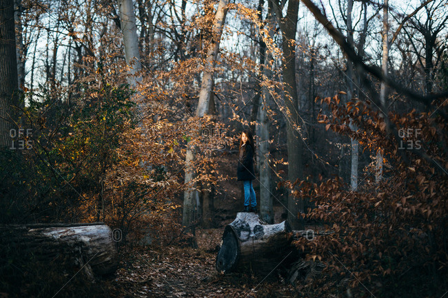 Girl standing on a log looking back