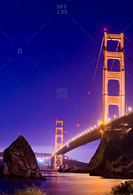 A view of the Golden Gate Bridge at night, San Francisco