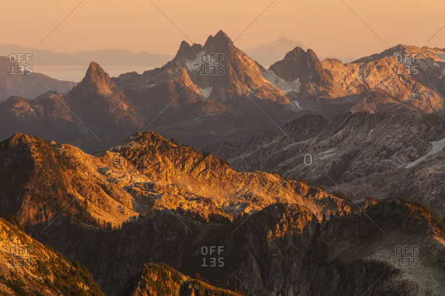 Alpenglow on the Five Fingers Group (also known as The Five Fingers), British Columbia, Canada.