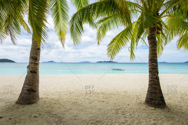 Palm trees and blue water on the white sand beach of Malcapuya Island