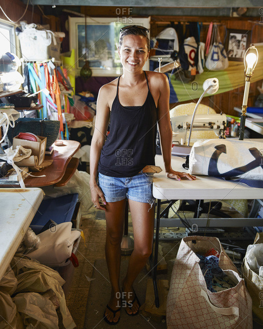 Hope Town, Bahamas - August 17, 2014: Woman in purse shop in the Bahamas