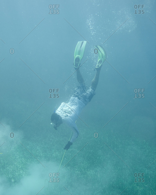 Person spearfishing in the Bahamas