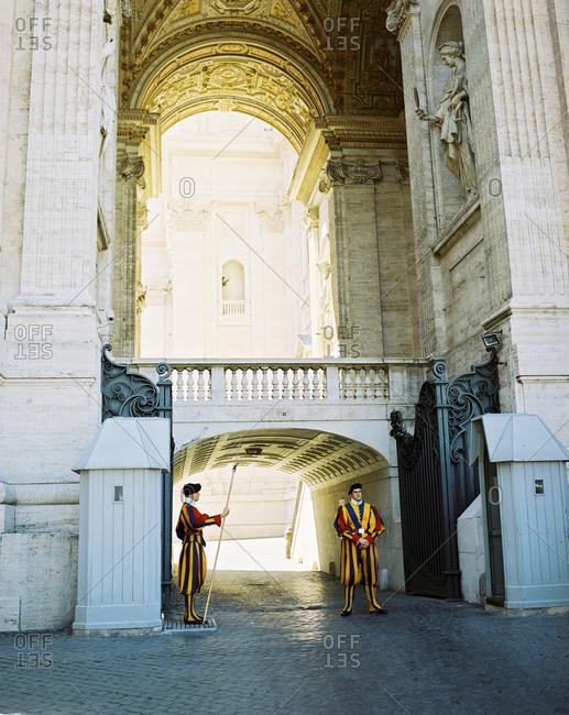 Rome, Italy - June 6, 2015: The Vatican Guard at the Vatican city