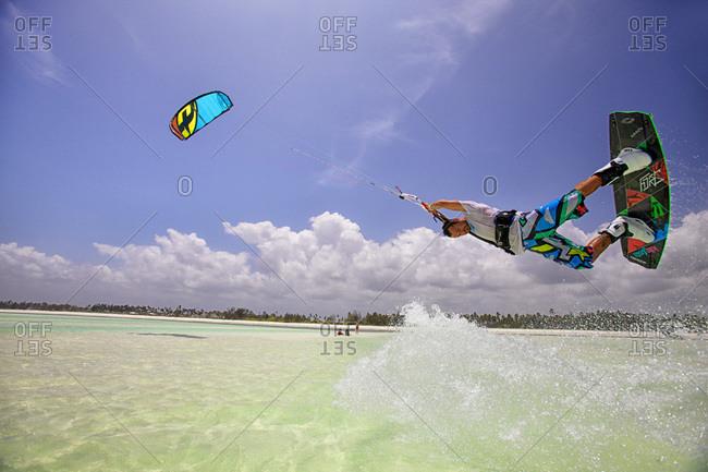 Kite surfing on the beach of Paje Island of Zanzibar Tanzania Africa