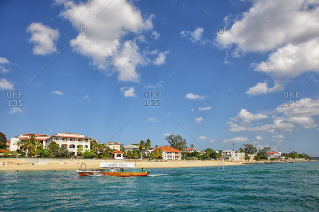 Indian Ocean and Stone Town in Zanzibar, Tanzania, East Africa
