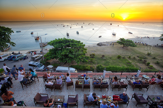 Zanzibar, Tanzania, East Africa - February 6, 2015: Sunset view from one of the terraces of the hotel African House