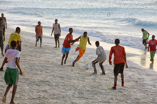 Zanzibar, Tanzania, East Africa - February 6, 2015: Locals Playing Football on the Beach, Nungwi