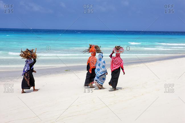 Woman carrying firewood on her head on the beach of Nungwi, Tanzania, Zanzibar Archipelago, Unguja island (Zanzibar), Nungwi