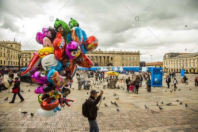 Bogota, Colombia - December 3, 2013: Plaza de Bolivar on a cloudy afternoon in Bogota, Colombia