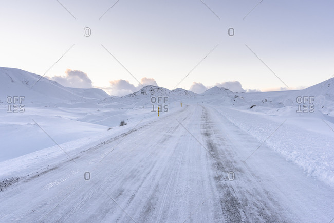 Snow-covered road in Iceland